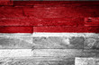 indonesia flag painted on old wood