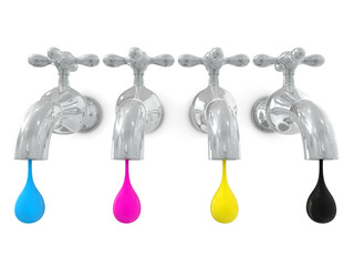 leaking water cmyk concept 3d render