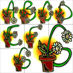 Flowers sketches alphabet background design abcd