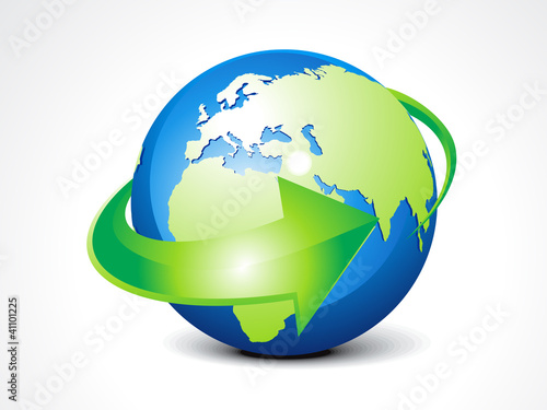 abstract globe with arrow