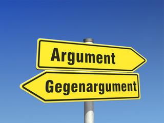 Wegweiser Argument Gegenargument