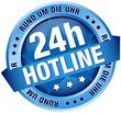 """Button Banner """"24h Hotline"""" blau"""