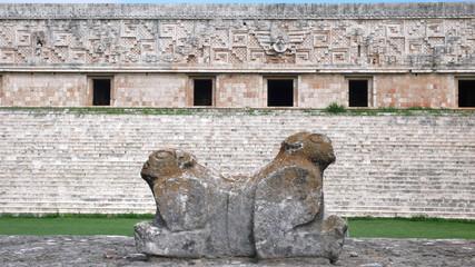 Escultura en el Palacio del Gobernador, Uxmal, Yucatán, México