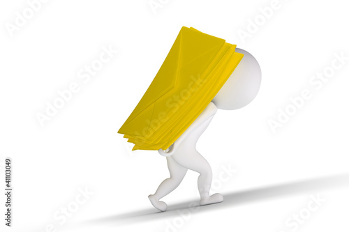 3d human with a lots of yellow letters