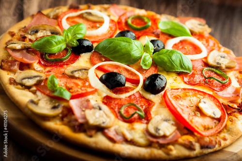 Pizza with Mushrooms, Salami and Chili Pepper