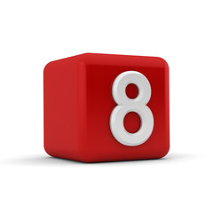 Red 3D block with number eight