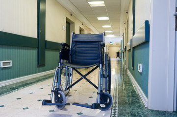 Wheelchair at hospital corridor