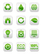 Green square glossy icons set