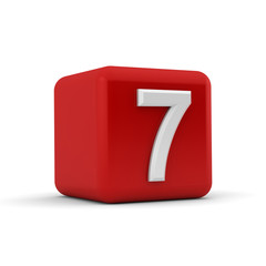 Red 3D block with number seven