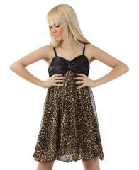 Beautiful blond girl posing sexy leopard dress