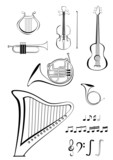 Violin, quitar, lyre, French horn, trumpet, harp and notes