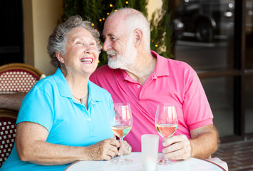 Senior Couple - Wine and Conversation