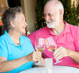 Stock Photo of Senior Couple Drinking Wine