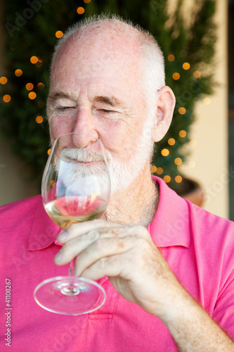 Stock Photo of Wine Tasting - Senior Man