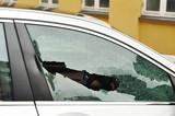 Broken passenger window, car theft poster