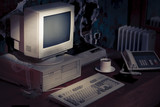 dramatic lighting image of an old, vintage workspace poster