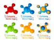 3D colored molecule logod