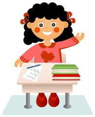 The little girl sits at a school desk