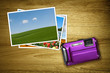purple camera with photos