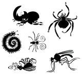 Cartoon Bugs silhouettes.