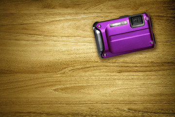 purple compact camera