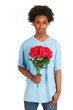 Black teen boy is giving flowers