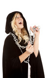 woman cloak chain laughing poster