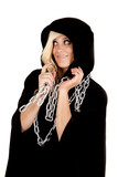 woman cloak chain look side poster