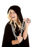 woman cloak chain smile back poster