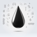Black glossy oil fuel drop