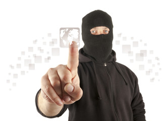 Terrorist pushing the virtual button
