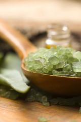 Aloe vera with bath salt and massage oil