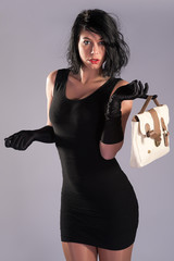 High Fashion Model Poses with handbag black