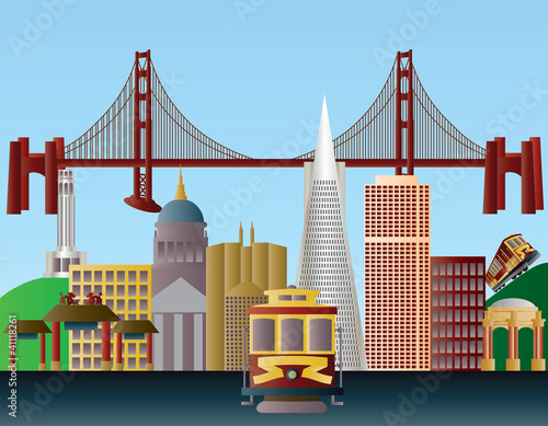 San Francisco City Skyline Illustration