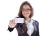 Cute business woman handing a business card