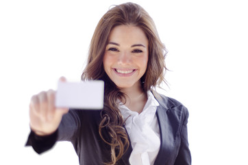 Cute business woman handing a business card