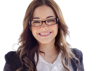 Cute business woman with glasses
