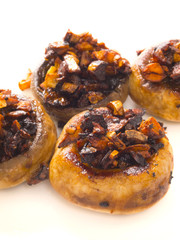 close up of sauteed button mushrooms