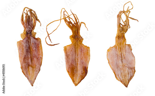 close up of dried squid isolated on white