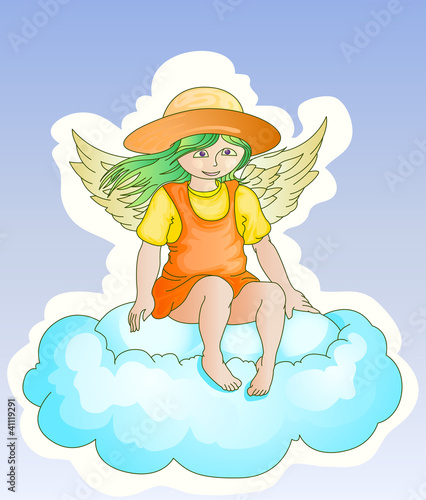 fairy sit on the cloud