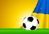 Vector illustration of a soccer ball with Ukraine insignia poster