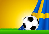 Vector illustration of a soccer ball with Sweden insignia poster