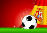 Vector illustration of a soccer ball with Spain insignia poster
