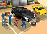 Cartoon illustration of automobile repair shop
