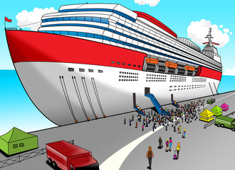 Cartoon illustration of a cruise liner