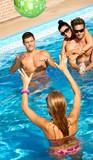 Happy companionship having summer fun in pool poster