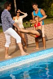 Happy companionship having fun at summertime poster