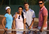 Happy companionship on tennis court poster
