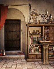 Wnętrze magicznego laboratorium z książkami