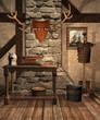 Średniowieczna izba ze stojakiem na zbroję